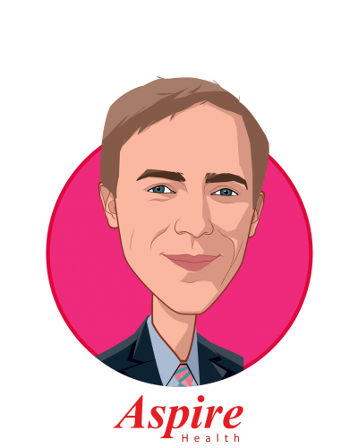 Main caricature of Brad Smith, who is speaking at HLTH and is Co-Founder and CEO at Aspire Health