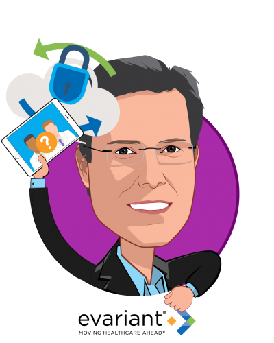 Overlay caricature of Clay Ritchey, who is speaking at HLTH and is CEO at Evariant