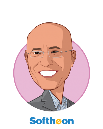 Main caricature of Eugene Sayan, who is speaking at HLTH and is Founder, CEO & President at Softheon