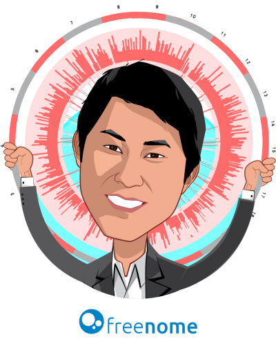 Overlay caricature of Gabriel Otte, who is speaking at HLTH and is CEO/Co-Founder at Freenome