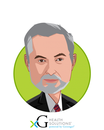 Main caricature of Glenn Steele MD, PhD, who is speaking at HLTH and is Vice Chair, Health Transformation Alliance at Chairman, xG Health Solutions