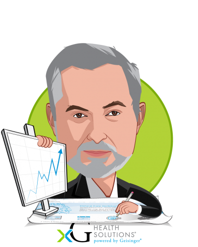 Overlay caricature of Glenn Steele MD, PhD, who is speaking at HLTH and is Vice Chair, Health Transformation Alliance at Chairman, xG Health Solutions