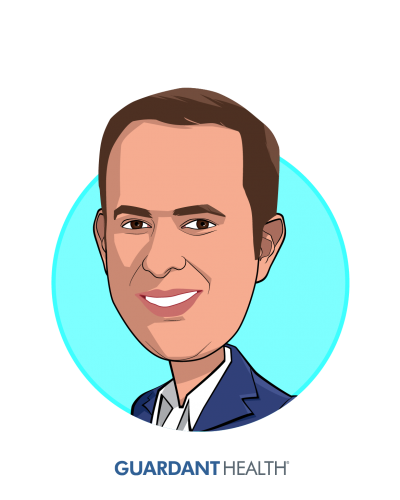Main caricature of Helmy Eltoukhy, who is speaking at HLTH and is Co-founder and CEO at Guardant Health, Inc.
