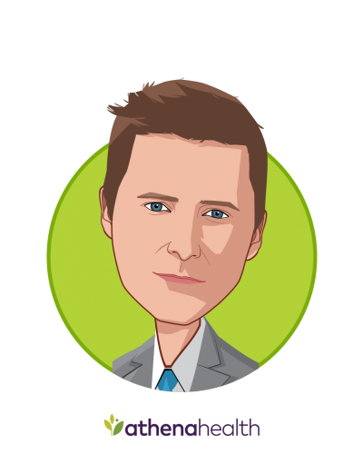 Main caricature of Jonathan Bush, who is speaking at HLTH and is CEO at athenahealth