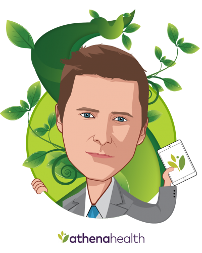 Overlay caricature of Jonathan Bush, who is speaking at HLTH and is CEO at athenahealth