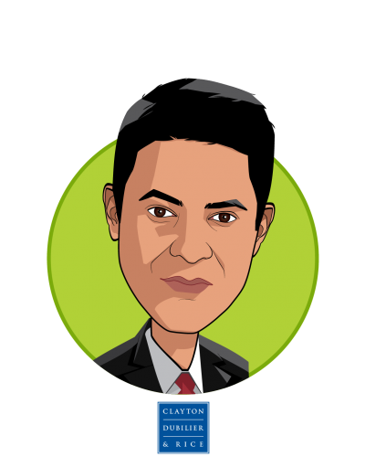 Main caricature of Ravi Sachdev, who is speaking at HLTH and is Partner at Clayton, Dubilier & Rice