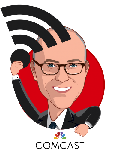 Overlay caricature of Shawn E. Leavitt, who is speaking at HLTH and is SVP, Total Rewards at Comcast Corporation