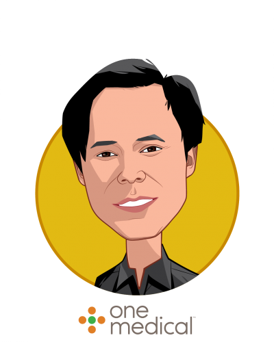 Main caricature of Tom X Lee, who is speaking at HLTH and is Founder & Executive Chairman at One Medical