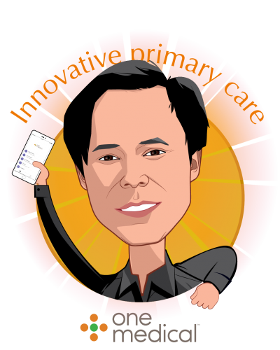 Overlay caricature of Tom X Lee, who is speaking at HLTH and is Founder & Executive Chairman at One Medical