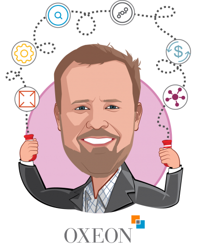 Overlay caricature of Trevor Price, who is speaking at HLTH and is Founder & CEO at Oxeon Partners