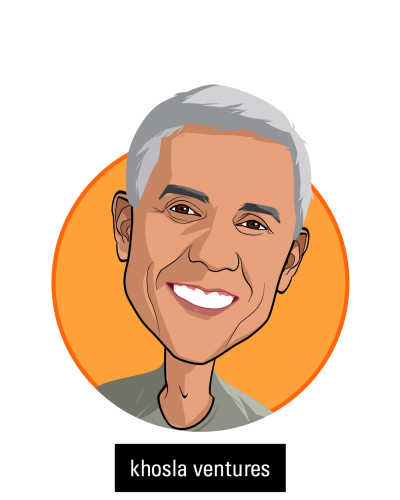 Main caricature of Vinod Khosla, who is speaking at HLTH and is Partner at Khosla Ventures