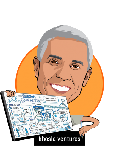 Overlay caricature of Vinod Khosla, who is speaking at HLTH and is Partner at Khosla Ventures