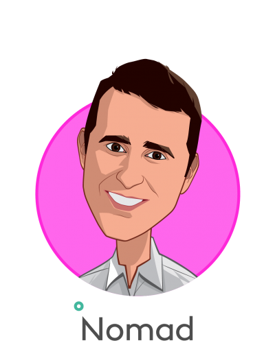 Main caricature of Alexi Gharib Nazem, MD, MBA, who is speaking at HLTH and is Co-founder & CEO at Nomad Health