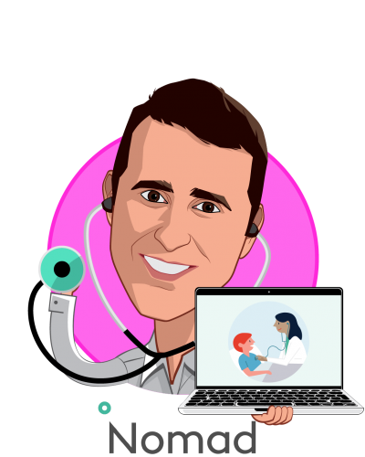 Overlay caricature of Alexi Gharib Nazem, MD, MBA, who is speaking at HLTH and is Co-founder & CEO at Nomad Health