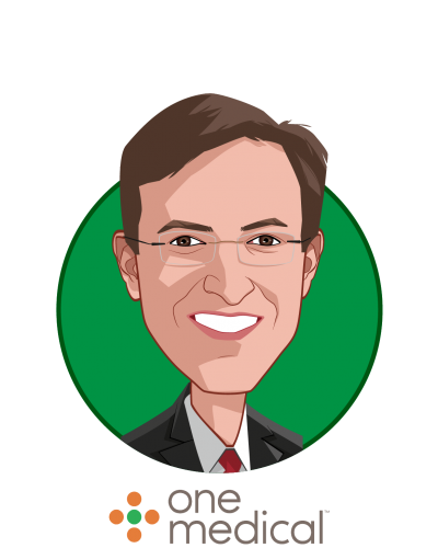 Main caricature of Amir Dan Rubin, who is speaking at HLTH and is President & CEO at One Medical