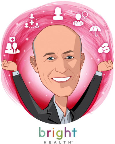 Overlay caricature of Bob Sheehy, who is speaking at HLTH and is CEO at Bright Health
