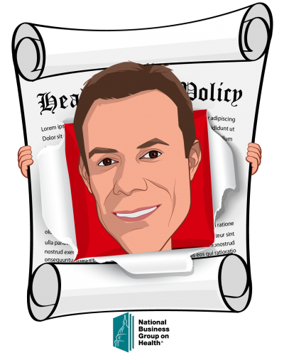 Overlay caricature of Brian Marcotte, who is speaking at HLTH and is President & CEO at National Business Group on Health