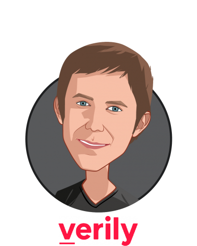 Main caricature of Dr. Brian Otis, who is speaking at HLTH and is Chief Technology Officer at Verily Life Sciences (a subsidiary of Google parent company Alphabet)