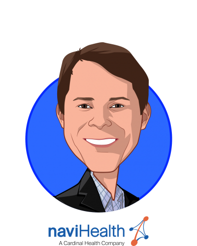 Main caricature of Clay Richards, who is speaking at HLTH and is Chief Executive Officer at naviHealth, Inc.