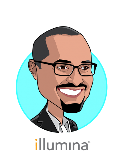 Main caricature of Francis deSouza, who is speaking at HLTH and is President & CEO at Illumina