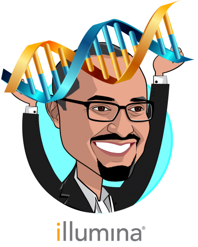 Overlay caricature of Francis deSouza, who is speaking at HLTH and is President & CEO at Illumina