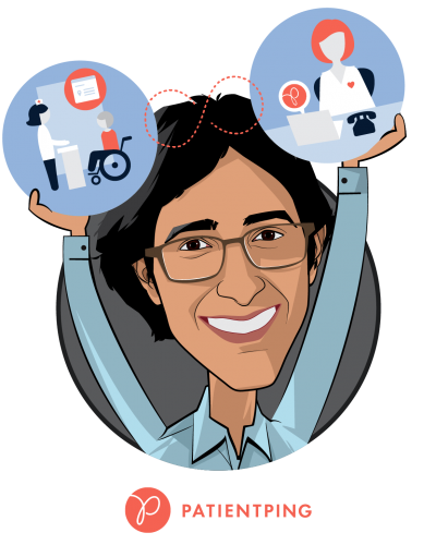 Overlay caricature of Jay Desai, who is speaking at HLTH and is Co-Founder and CEO at PatientPing