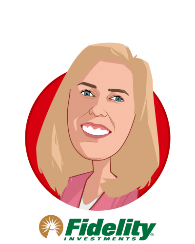 Main caricature of Jennifer Hanson, who is speaking at HLTH and is Head of Associate Experience at Fidelity Investments