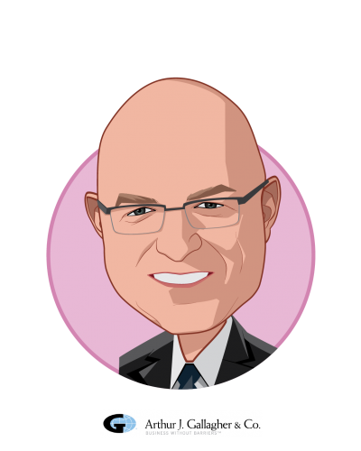 Main caricature of James A. Rice PH.D., who is speaking at HLTH and is Managing Director, Governance and Leadership at Gallagher Integrated