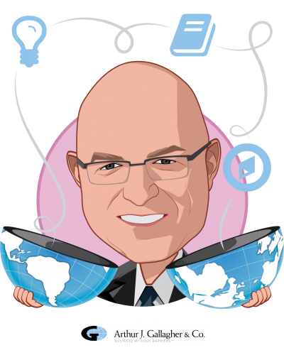 Overlay caricature of James A. Rice PH.D., who is speaking at HLTH and is Managing Director, Governance and Leadership at Gallagher Integrated