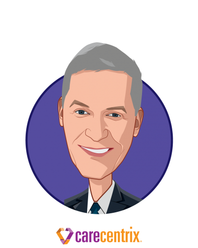 Main caricature of John P. Driscoll, who is speaking at HLTH and is CEO at CareCentrix