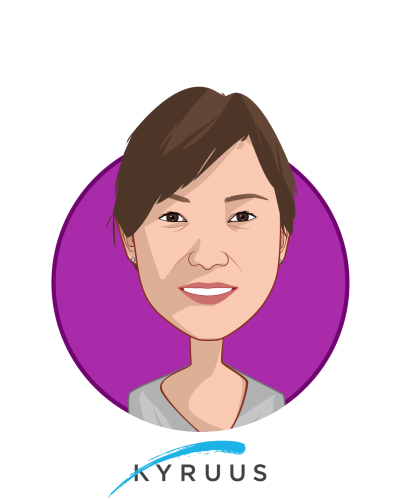 Main caricature of Julie Yoo, MBA, MS, who is speaking at HLTH and is Chief Strategy Officer & Co-Founder at Kyruus