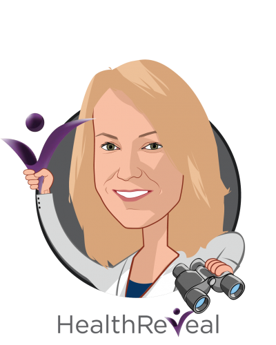 Overlay caricature of Lori Evans Bernstein, MPH, who is speaking at HLTH and is Co-Founder & Chief Operating Officer at HealthReveal