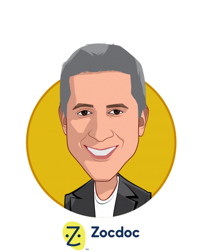 Main caricature of Dr. Oliver Kharraz, who is speaking at HLTH and is CEO and Founder at Zocdoc