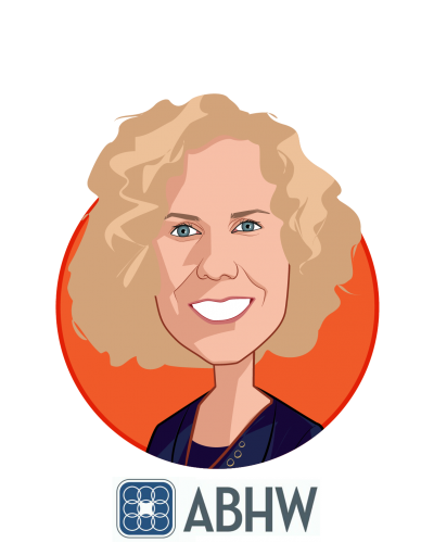 Main caricature of Pamela Greenberg, MPP, who is speaking at HLTH and is President and CEO at Association for Behavioral Health and Wellness