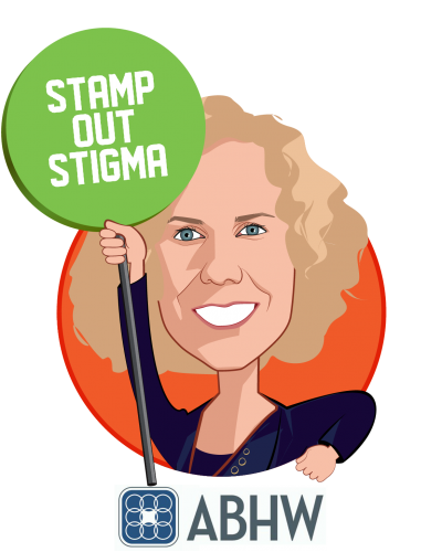 Overlay caricature of Pamela Greenberg, MPP, who is speaking at HLTH and is President and CEO at Association for Behavioral Health and Wellness