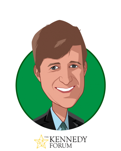 Main caricature of Patrick J. Kennedy, who is speaking at HLTH and is Former U.S. Representative, RI; Co-Founder, One Mind, and Founder, Kennedy Forum at Kennedy Forum