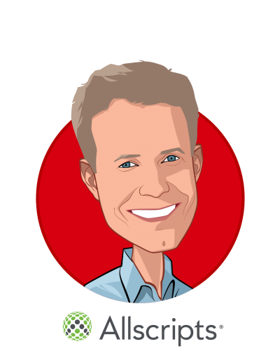 Main caricature of Paul Black, who is speaking at HLTH and is Chief Executive Officer at Allscripts Healthcare Solutions