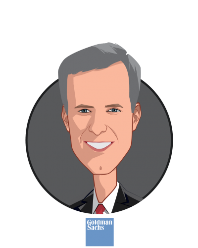 Main caricature of Peter H.W. van der Goes, who is speaking at HLTH and is Co-head of M&A Consumer Retail & Healthcare Group, Global Head of Healthcare Information Technology & Digital Health Practice at Goldman Sachs