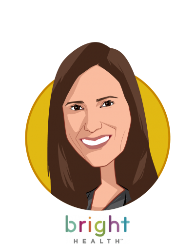 Main caricature of Rachel Winokur, who is speaking at HLTH and is Chief Business Officer at Bright Health