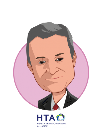 Main caricature of Rob E. Andrews, who is speaking at HLTH and is CEO at Health Transformation Alliance