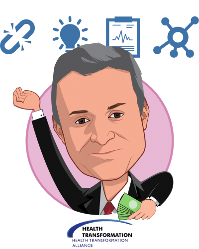 Overlay caricature of Rob E. Andrews, who is speaking at HLTH and is CEO at Health Transformation Alliance