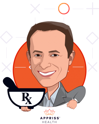 Overlay caricature of Robert Cohen, who is speaking at HLTH and is President, Appriss Health at Appriss Inc