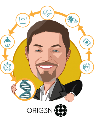 Overlay caricature of Robin Y. Smith, who is speaking at HLTH and is CEO at ORIG3N, Inc.