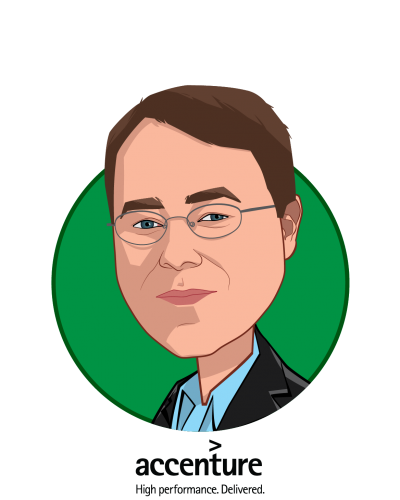 Main caricature of Ryan Oakes, who is speaking at HLTH and is Health and Human Services Managing Director at Accenture