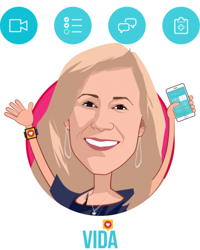 Overlay caricature of Stephanie Tilenius, who is speaking at HLTH and is Founder and CEO at Vida Health