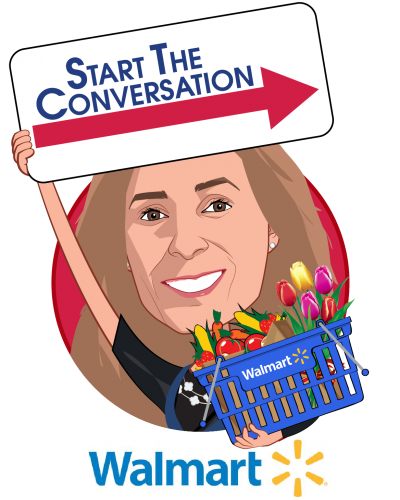 Overlay caricature of Alexandra Drane, who is speaking at HLTH and is Cashier, Walmart; Co-Founder ARCHANGELS and Eliza Corporation at Walmart