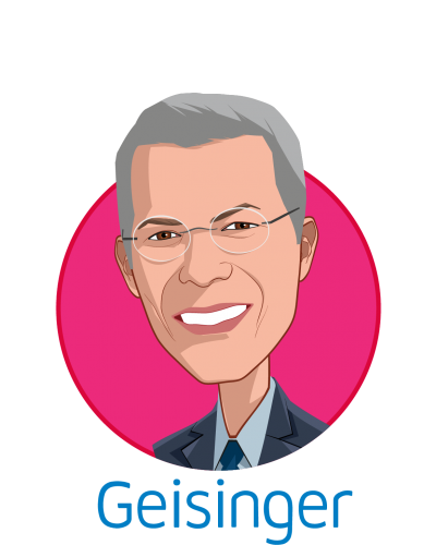 Main caricature of David T. Feinberg, MD, MBA, who is speaking at HLTH and is President & CEO at Geisinger