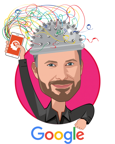 Overlay caricature of Greg S. Corrado, PhD, who is speaking at HLTH and is Principal Scientist Google Brain Team, Director of Augmented Intelligence at Google