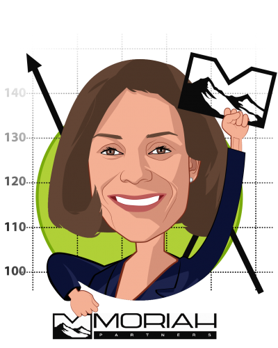 Overlay caricature of Jacqueline Kosecoff, PhD, who is speaking at HLTH and is Managing Partner at Moriah Partners, LLC