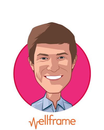 Main caricature of Jacob Sattelmair, who is speaking at HLTH and is CEO at Wellframe